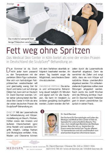 Fett Weg Laser in Köln Bericht im Kölner Stadt Anzeiger